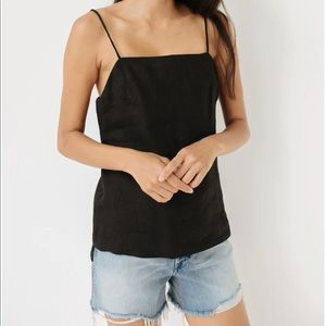 MATIN black linen square neck top. Size 6.
